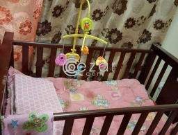 Baby Cot (3 level adjustable with mattress, quilt and bumper) for sale in Qatar