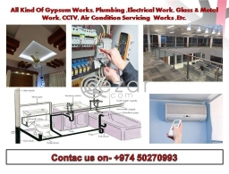 Contractor-Gypsum work,Plumbing,Electrical work,Glass & Metal work, CCTV work in Qatar