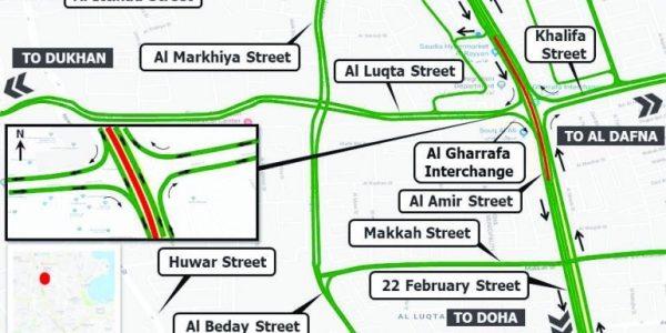 Ashghal advises drivers to use temporary traffic diversion at Al Gharafa interchange