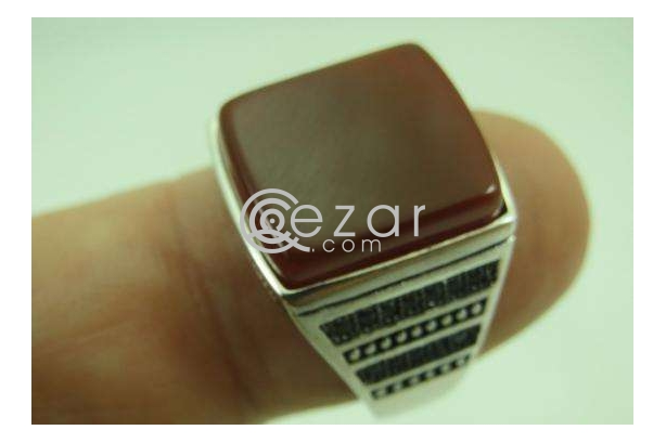 Agate Stone Men's Silver Ring photo 1