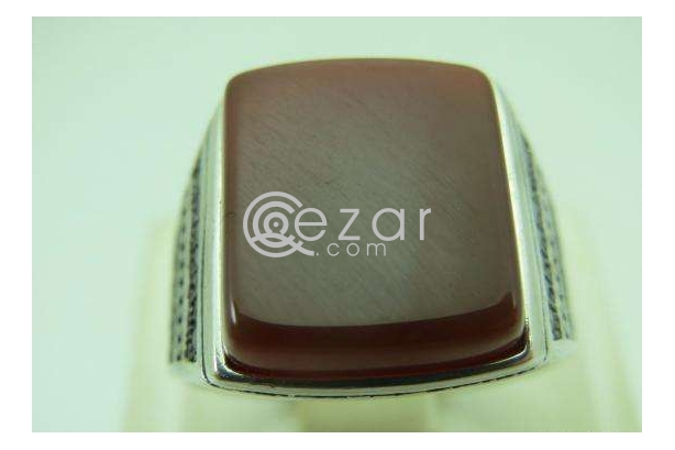 Agate Stone Men's Silver Ring photo 2