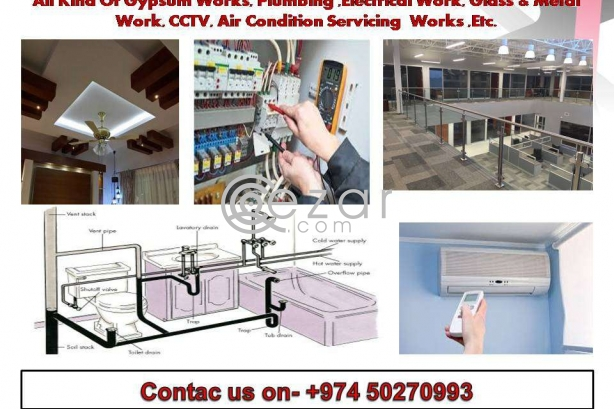 Contractor-Gypsum work,Plumbing,Electrical work,Glass & Metal work, CCTV work photo 1
