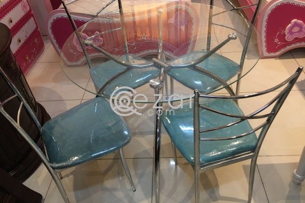 Dining table glass with 4 chair photo 1